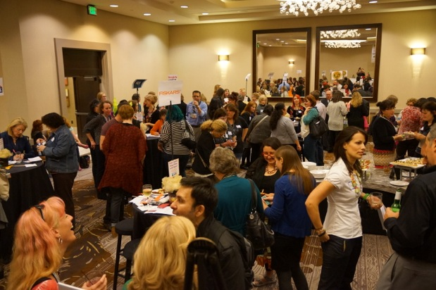 Bloggers and companies meeting with one another. Photo courtesy of Michael Sellick